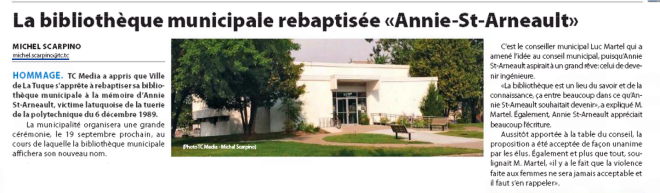 Article Biblio Annie Echo La Tuque 10-09-2015
