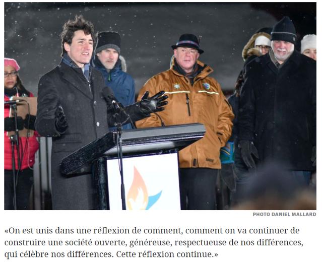 Justin Trudeau discour commémoration 29-01-2017. b