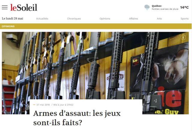 Armes d'assaut dans le journal Le Soleil
