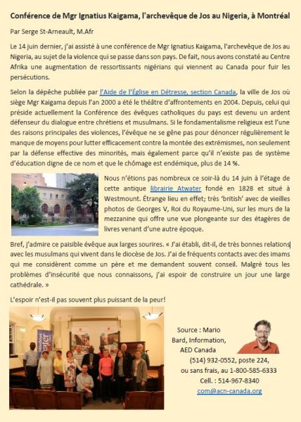 Conférence front page